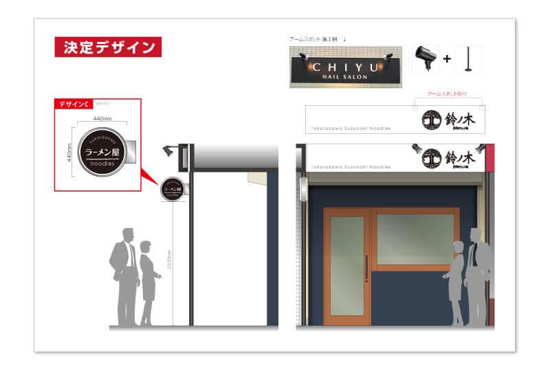 所沢市のラーメン屋の看板デザイン
