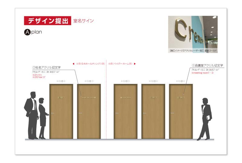 横浜オフィスの室名サインデザインA