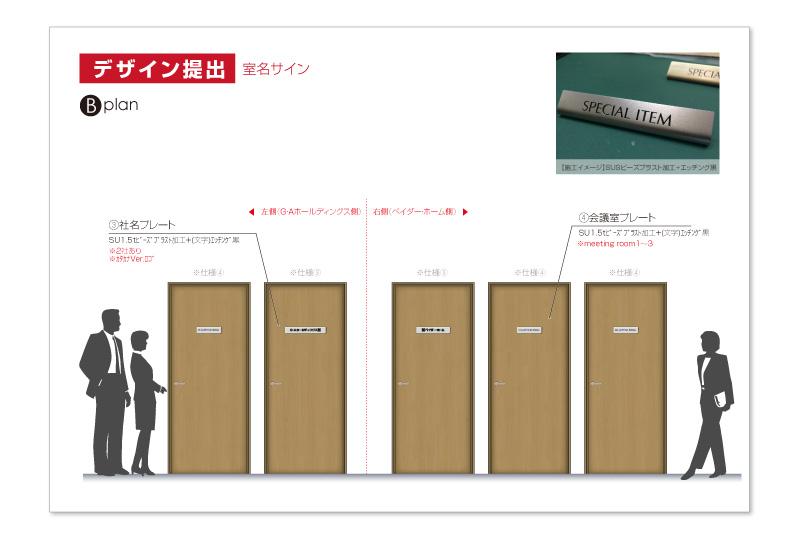 横浜オフィスの室名サインデザインB